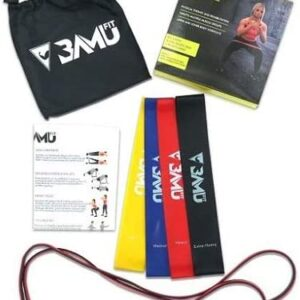 "BAMU FIT Resistance Bands for Exercise - Set of 5, 12"" x 2"" Mini Loop and Pull Up Band Set with Instruction Guide and Large Nylon Bag - Workout..."