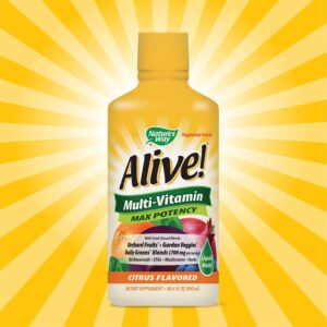 Nature's Way Alive! Multivitamin Citrus Flavor Liquid, Food-Based Blends and Antioxidants, 30.4 fl oz