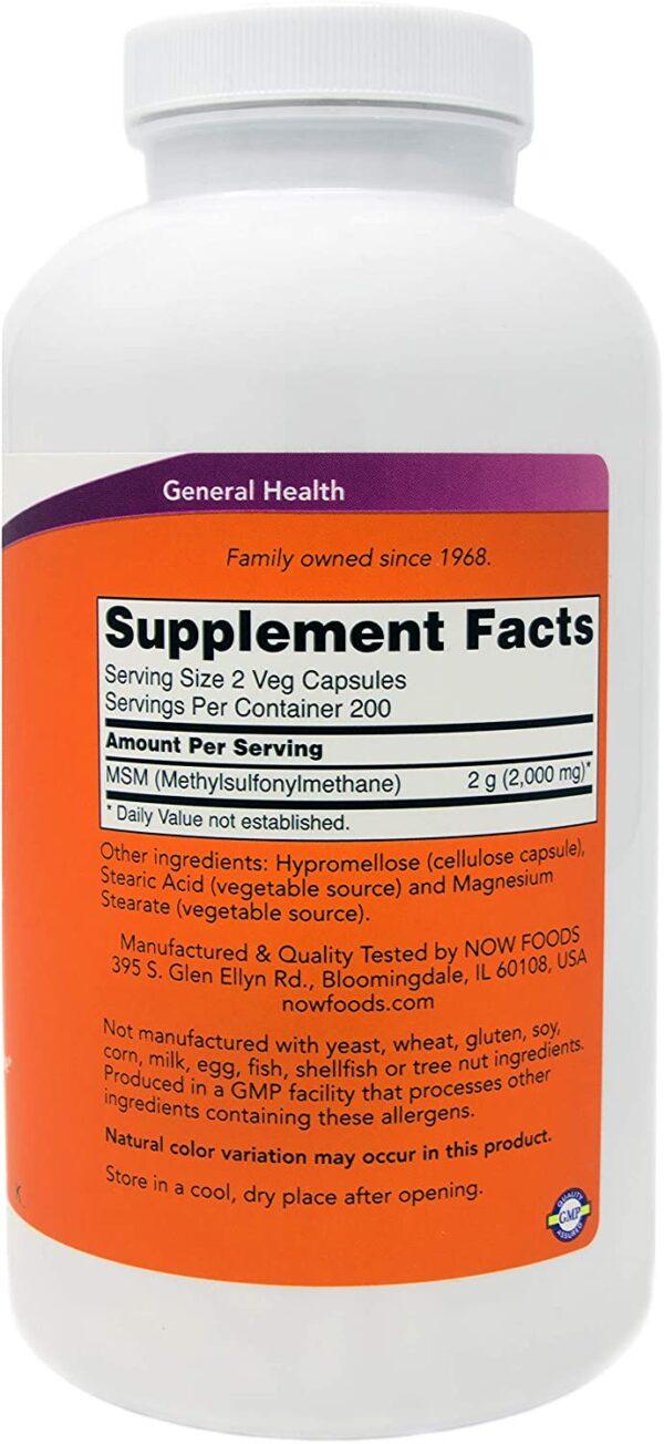 Now MSM 1000 mg, 400 Veg Capsules, Methylsulphonylmethane
