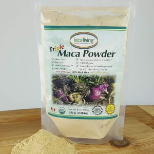 Triple Maca Powder by Incaliving (Red, Black and Yellow Maca) * 100% USDA Organic * 100% Gelatinized * 250g * Authentic Peruvian MACA