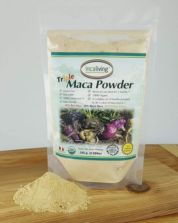 Triple Maca Powder by Incaliving (Red, Black and Yellow Maca) * 100% USDA Organic * 100% Gelatinized * 250g * Authentic Peruvian MACA